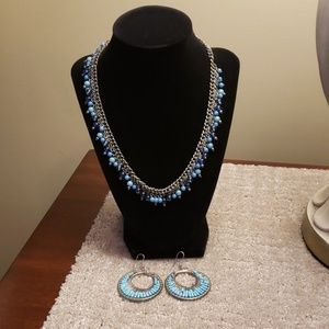 Blue Beaded Silver Necklace & Earring Set